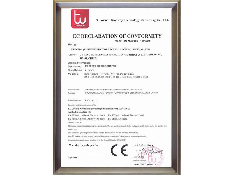ec declaration of conformity Sunny